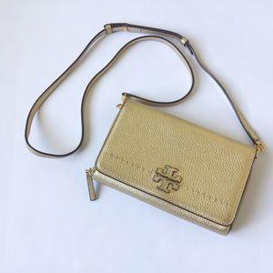 TORY BURCH 'McGraw' Gold Wallet Crossbody Bag